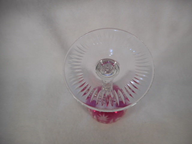 Vintage Pink Bohemian Czech Glass Cut to Clear Wine Goblet