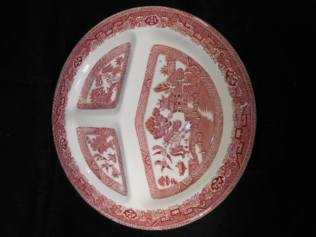 "Vintage English Pink Willow Transfer ware 10 1/2"" Pink White Grill Plate"