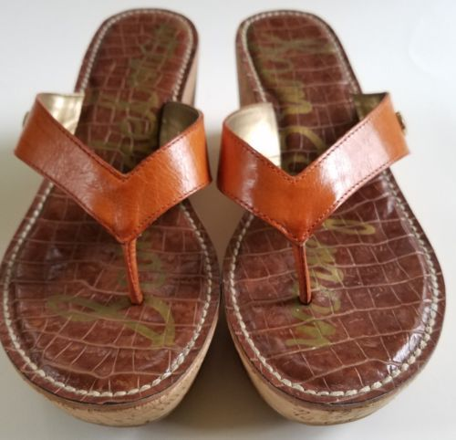 bf8b79bdc352 Sam Edelman Thong Sandals Leather Cork Wedge Heel Romy Orange Womens 7M  37.5 Eur