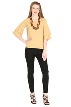 Tops for Women Beige Cotton Ruffle Bell Sleeves tops Chistmas gifts for her image 3