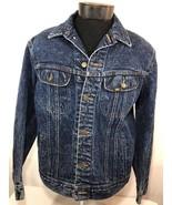 VTG Lee Jean Jacket Denim Coat Acid Wash Medium Made USA 80's Blue Chore - $42.49