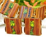 Vintage wood bracelet earrings florida souvenir palm trees thumb155 crop