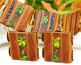 Vintage Wood Bracelet Earrings Set Florida Souvenir Palm Trees Painted - £19.25 GBP