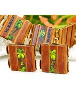 Vintage Wood Bracelet Earrings Set Florida Souvenir Palm Trees Painted - £18.99 GBP