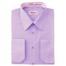 BERLIONI ITALY MEN'S PREMIUM FRENCH CONVERTIBLE CUFF SOLID DRESS SHIRT LILAC