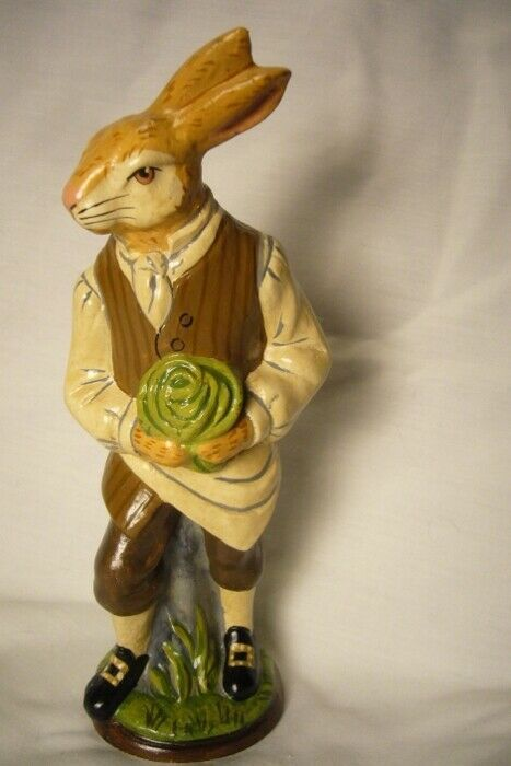 Vaillancourt Folk Art, Colonial Male Rabbit Gardener signed by Judi