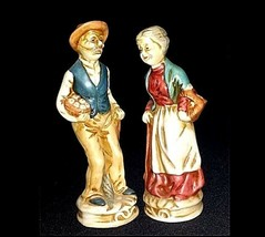 Man and Woman Figurines With baskets of Fruit  AB 747 Vintage
