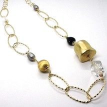 Silver necklace 925, Yellow, ONYX, GRAY PEARLS, Oval Braided, 95 cm image 2