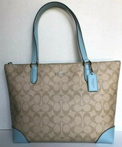 New Coach 29208 Signature zip tote Coated Canvas handbag Lt Khaki / Powd... - $104.00