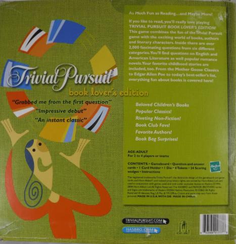 Hasbro trivial pursuit book lover's edition, figures amazon canada.