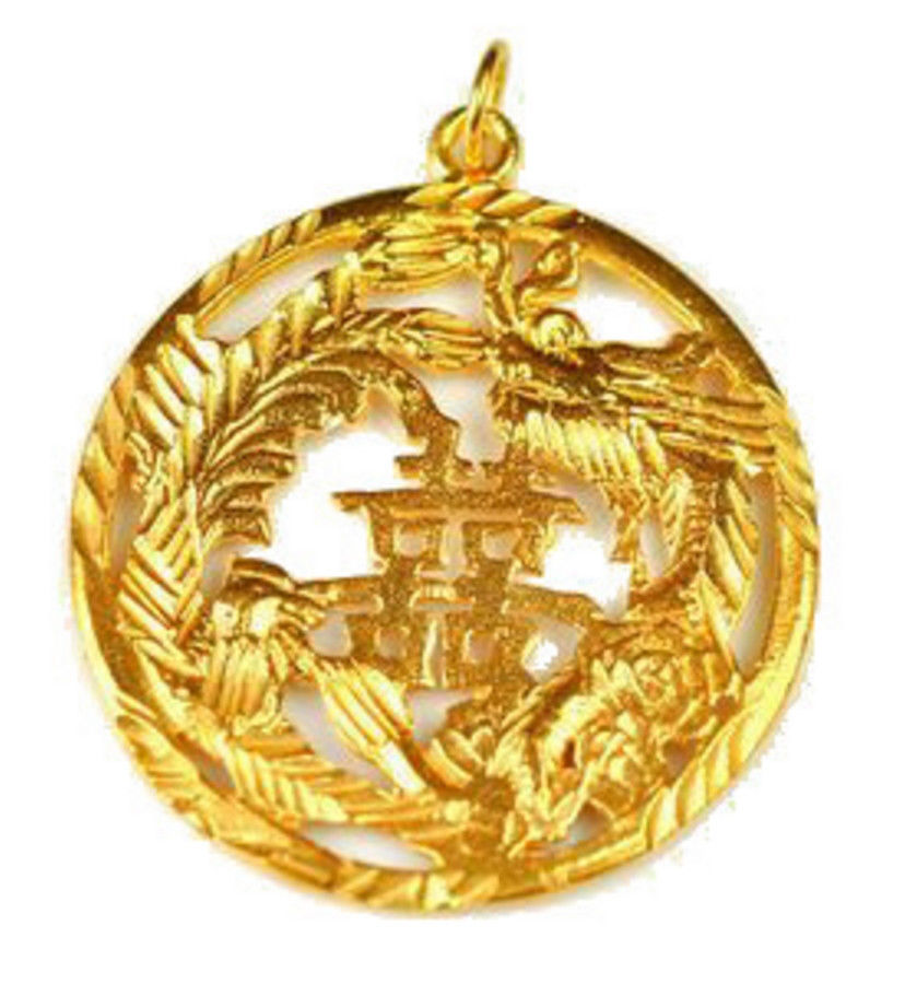 NICE 24kt Gold vermeil Chinese Happiness Good fortune charm