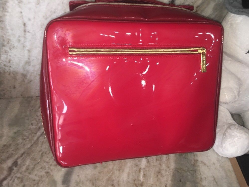 Primary image for Extra Large Estee Lauder Red Makeup Bag Cosmetic Case Soft Sided Travel Bag