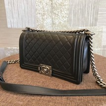 AUTHENTIC CHANEL BLACK QUILTED LAMBSKIN MEDIUM BOY FLAP BAG RHW image 3