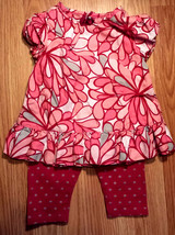 Girl's Sz 3-6 M Months 2 Pc Osh Kosh Pink/ Silver Floral Designed Top & ... - $9.00
