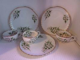 """Set of 3 Norcrest Fine China Dogwood 8"""" Snack Trays & Cups #NW DW-33 Vin... - $26.03"""