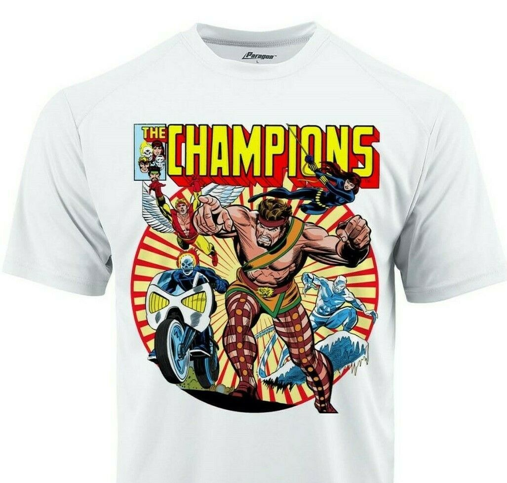 The Champions Dri Fit graphic T-shirt moisture wick superhero comic Sun Shirt