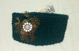 NEW MUDD Winter Teal Green Knit Headband w/Feathers, Faux Pearl, Rhinestones  - $6.95