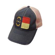 North Carolina Flag Distressed Trucker Snap Back Baseball Cap Navy - $21.95
