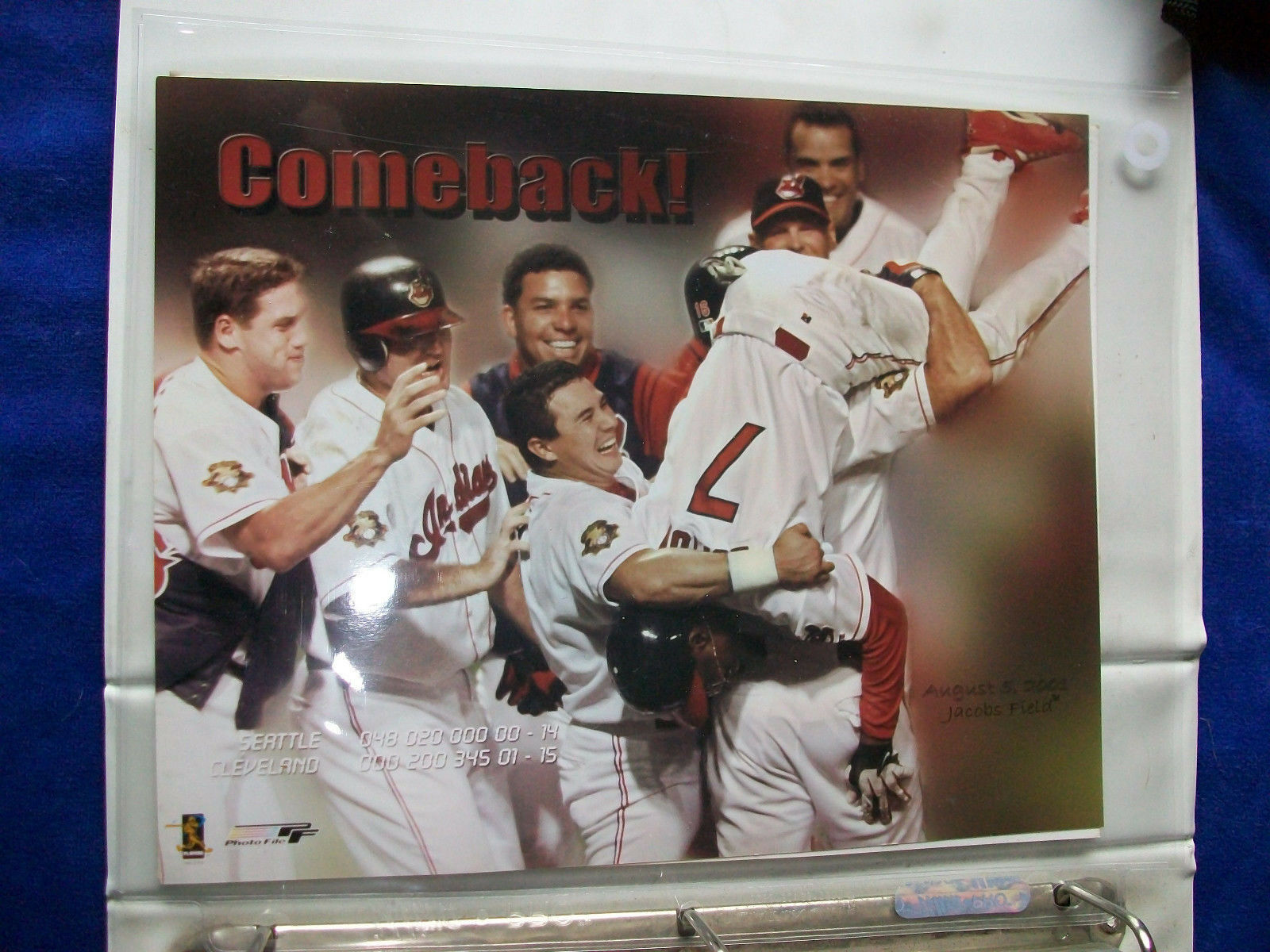 Primary image for THE COMEBACK ! Cleveland Indians Unsigned 8 x 10 Photo