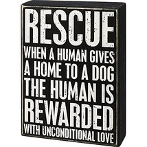 Primitives by Kathy Box Sign - Rescue Dog Unconditional Love - $19.95