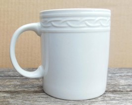 """Block Gala Rimmed Mug White on White Embossed Design 4"""" - $12.00"""