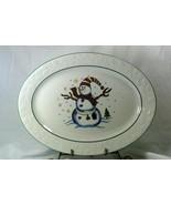 """GEI Snowman Holly Rim Oval Platter 14"""" GC16 - $10.07"""