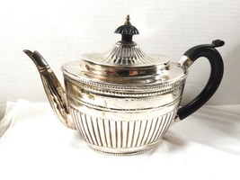Silver plated ribbed black handle & lid tip teapot tea pot Art Deco Style - $54.70