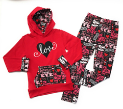 Cute Kids Clothing Co Toddler Girl/Girl's Valentine's Day Outfit Love Ho... - $26.99