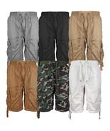 LR Scoop Men's Elastic Waist Drawstring Multi Pocket Cotton Cargo Shorts... - $23.98