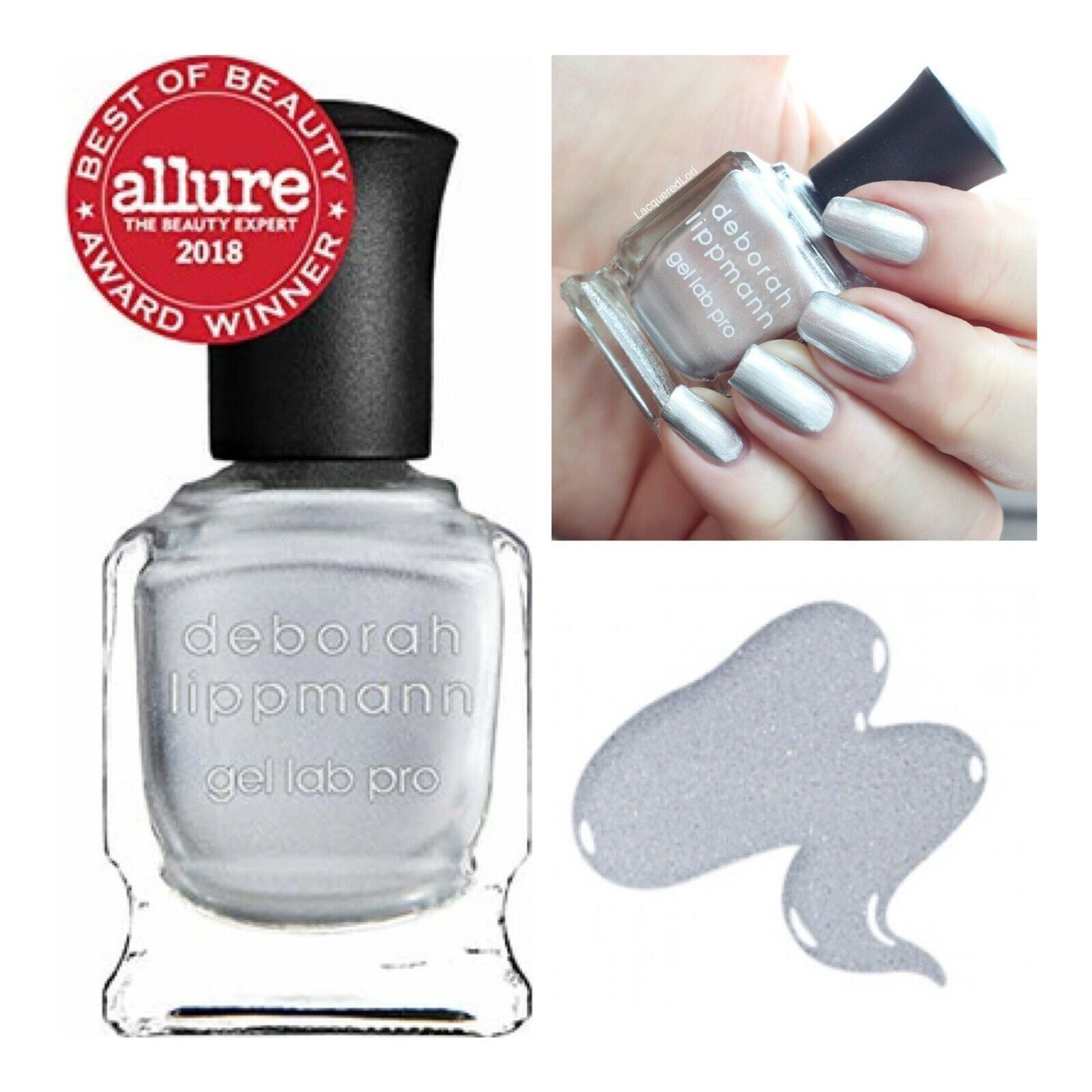 "Primary image for NEW Deborah Lippmann Gel Lab Pro Nail Polish ""WOW"" - Pure Silver Chrome"