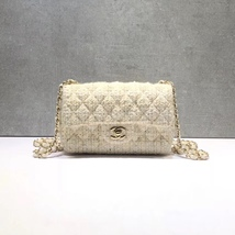 e59a854c7cbc AUTHENTIC NEW Chanel 2019 Beige Quilted Tweed Large Mini 20CM Classic Fl...  -