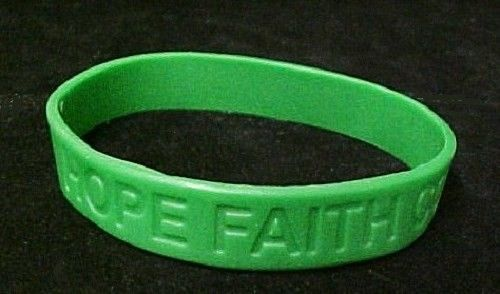Green Awareness Bracelets 12 Piece Lot Silicone Jelly Wristband Cancer Cause image 2