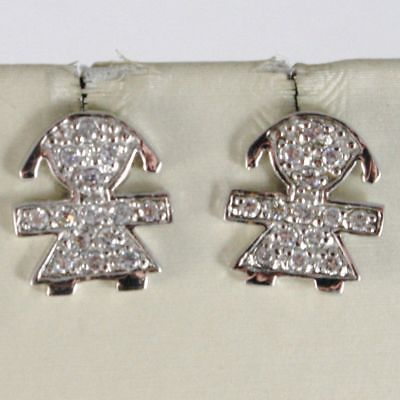 EARRINGS SILVER 925 RUN AT GIRL BABY WITH ZIRCON CUBIC WHITE