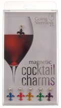 Going Stemless Fleur De Lis Wine Charms Cocktail Magnetic Set 6 Drink Xm... - $39.99