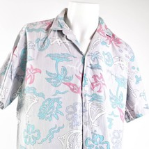 Royal Creations Vtg Tribal Floral Medium Gray Reverse Print Hawaiian Alo... - $34.64