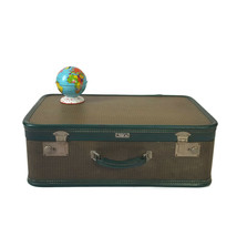 Vintage Hardside Suitcase 1940s Green Tweed Luggage Burlesque Case Valise  - $94.05