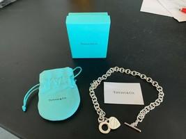 Please Return To Tiffany & Co Heart Tag Toggle Charm Bracelet Monogramed Fbe - $299.88