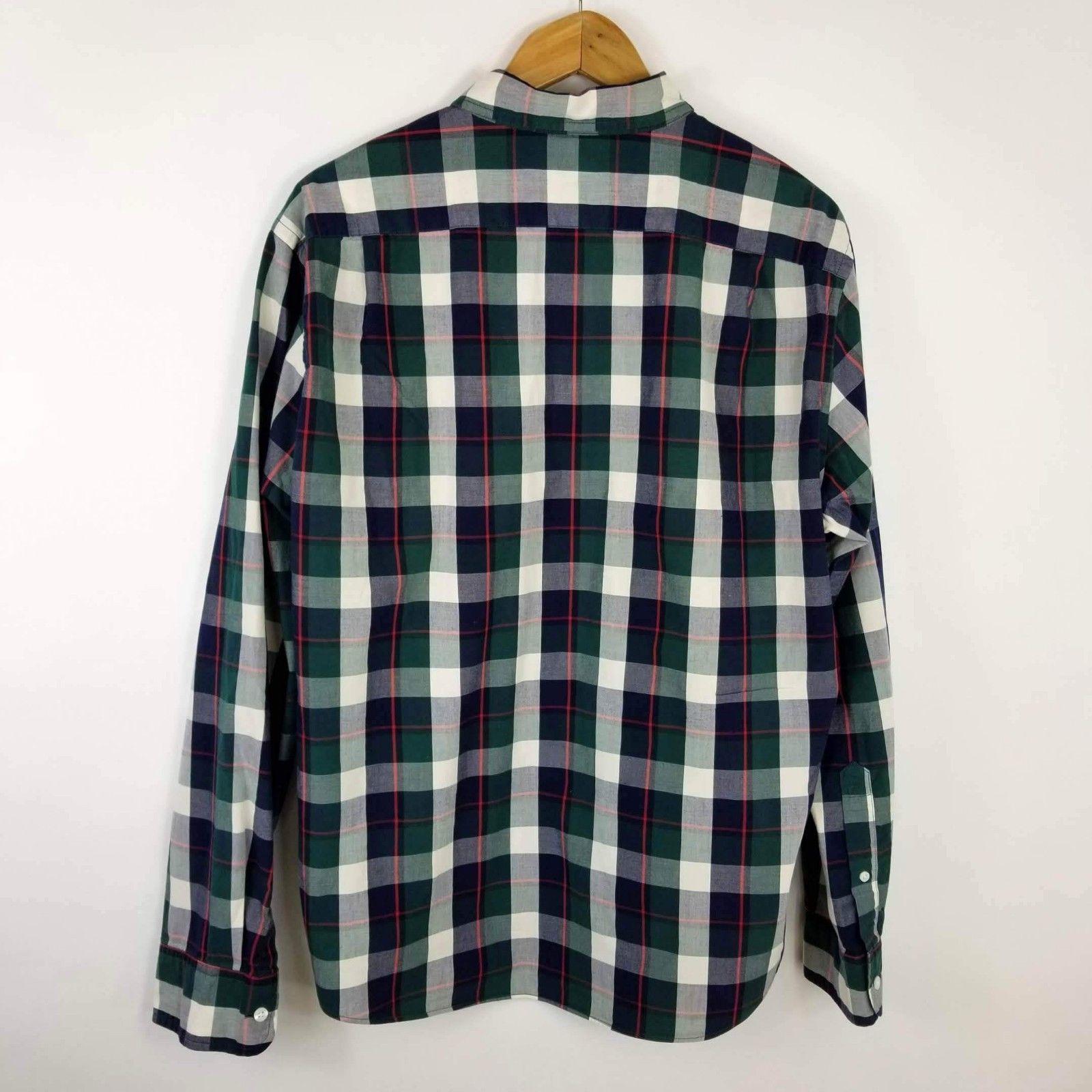 J.CREW Mens Shirt XL Slim Fit Blue Green Plaid Cotton - (SKU:B17)