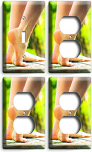 Bare Feet Soles Sexy Legs 1 Light Switch 3 Outlet Plate Bathroom Room Home Decor - $35.09
