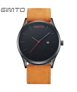 GIMTO Simple Retro Men Watch Casual Leather Sports Quartz Wrist Watch - $15.99