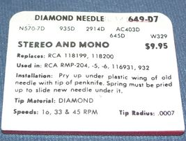 PHONOGRAPH RECORD PLAYER STYLUS NEEDLE for RCA 118200 RMP-204-5 116931 649-D7 image 3
