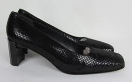Stuart Weitzman Classic pumps square toe heels leather faux snake Womens 8.5 B - $36.58