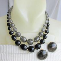 Vintage Hong Kong Glitter Black GreyTranslucent Lucite Bead Necklace Ear... - $22.50