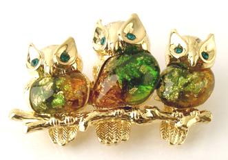 Bp16 owls branch brooch 1.75