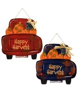 "Happy Harvest Pickup Trucks Wall Sign Decor 11"" x11"" Choose Either Red B... - $2.50+"