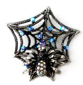 Antique Silver Spider Web Crystal Brooch Pin BP42