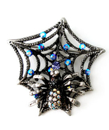Antique Silver Spider Web Crystal Brooch Pin BP42 - $10.99
