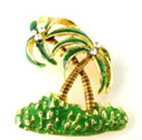 BP52 Palm Tree Crystal Enamel Brooch AFT