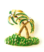 BP52 Palm Tree Crystal Enamel Brooch - $11.99