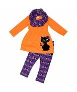 Unique Baby Girls Black Cat Halloween Outfit with Infinity Scarf (4T/M, ... - $28.99